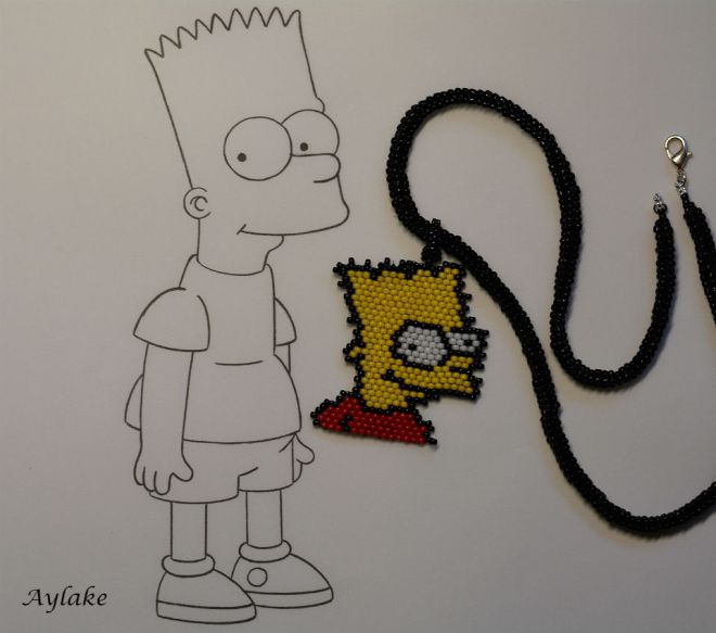 Simpson-Family-Surely-Can't-Put-A-Price-On-Family-Bart-Peyote-Stitch-Scheme-Aylake-7
