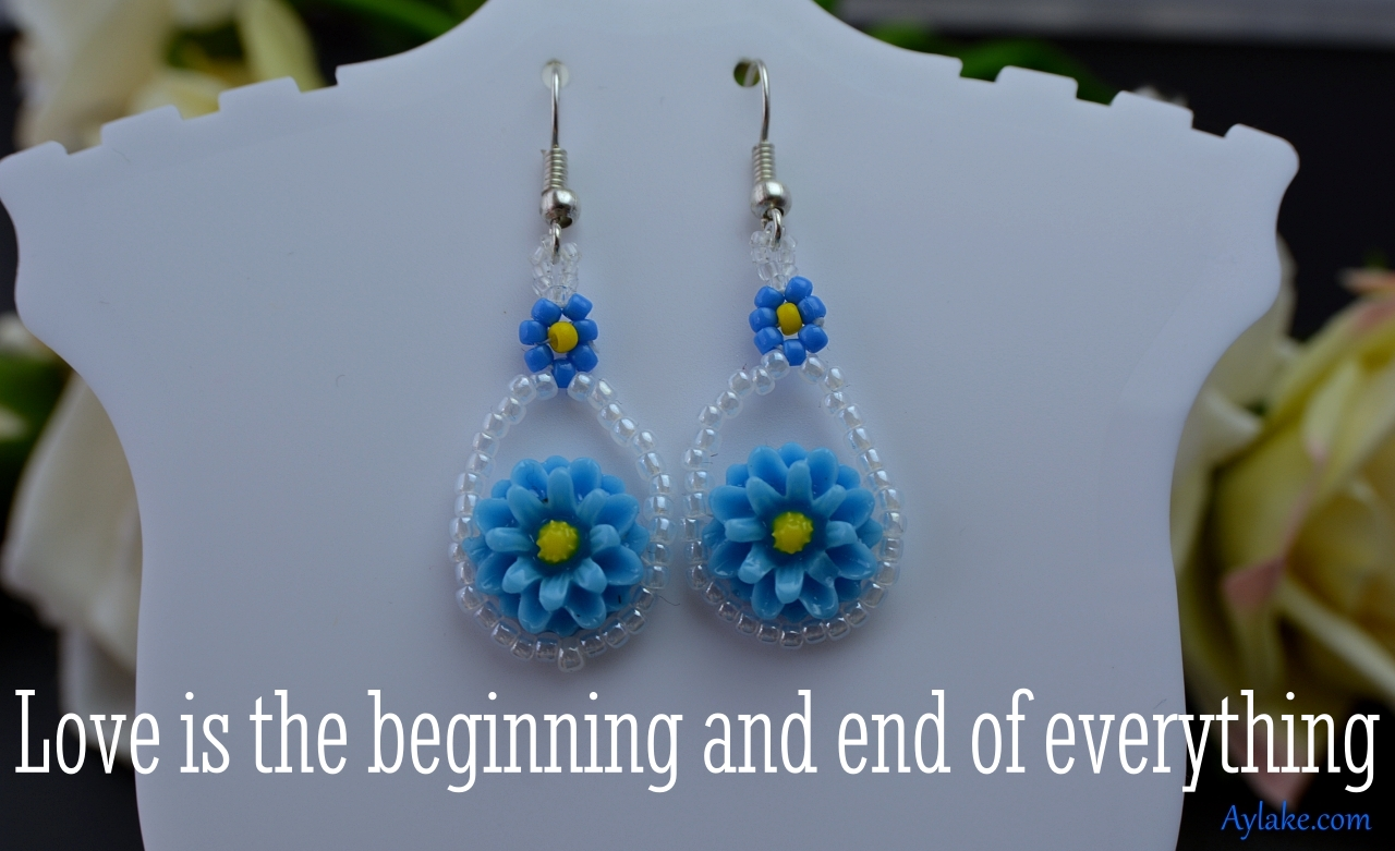 Cora Earrings Necklace Love is the beginning and end of everything Beading Tutorial Aylake Ailaviu