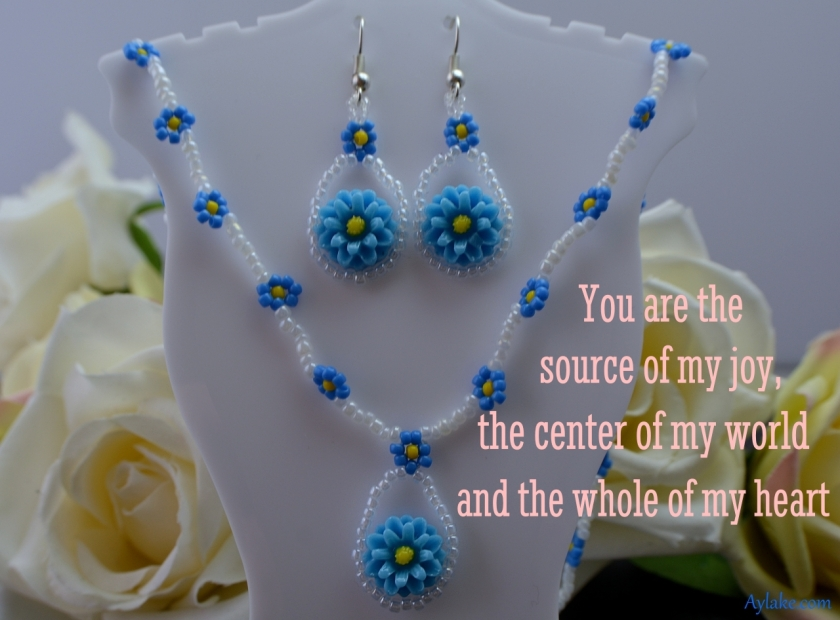 Cora Earrings Necklace You are source of my joy the center of my world and the whole of my heart Beading Tutorial Aylake Ailaviu