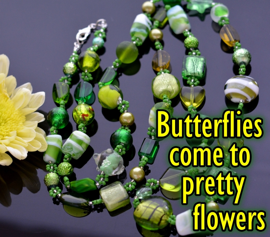 Simple Flowers Necklace Bracelet Butterflies come to pretty flowers Beading Tutorial Ailaviu Aylake