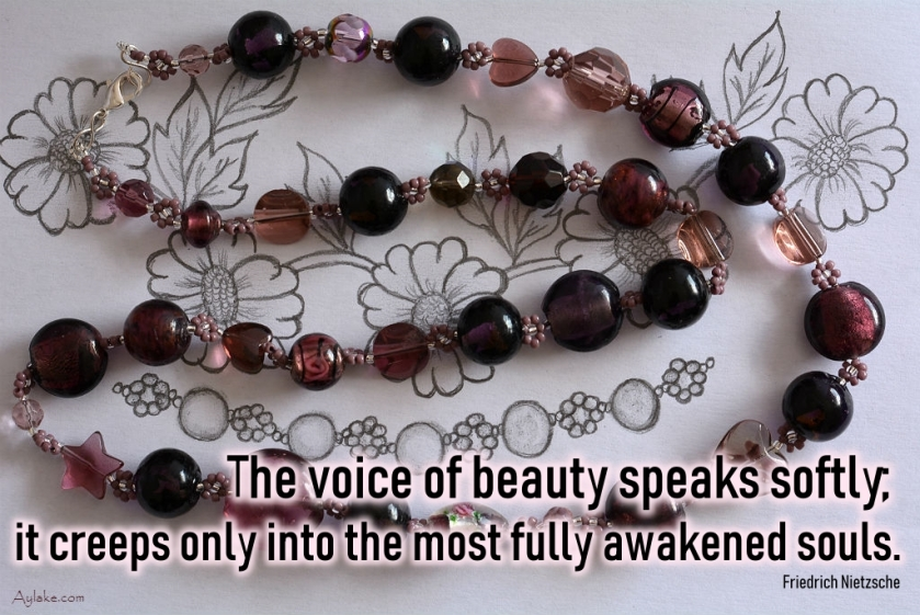 Simple Flowers Necklace The voice of beauty speaks softly it creeps only into the most fully awakened souls Beading Tutorial Aylake Ailaviu