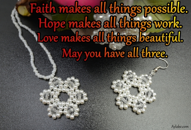 Starlet Earrings Necklace Faith makes all things possible Beading Tutorial Aylake Ailaviu