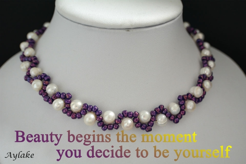 Waves Around Pearls Bracelet Beauty begins the moment you decide to be yourself Beading Tutorial Aylake Ailaviu