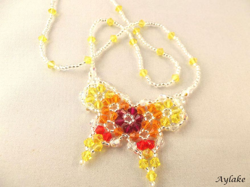Butterflies are like dream flowers Beaded Necklace Aylake 1