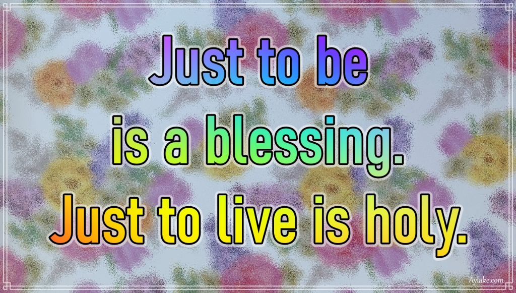 Gratitude quotes Just to be is a blessing Just to live is holy Aylake