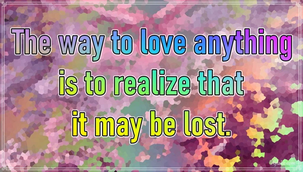 Life quotes The way to love anything is to realize that it may be lost Aylake